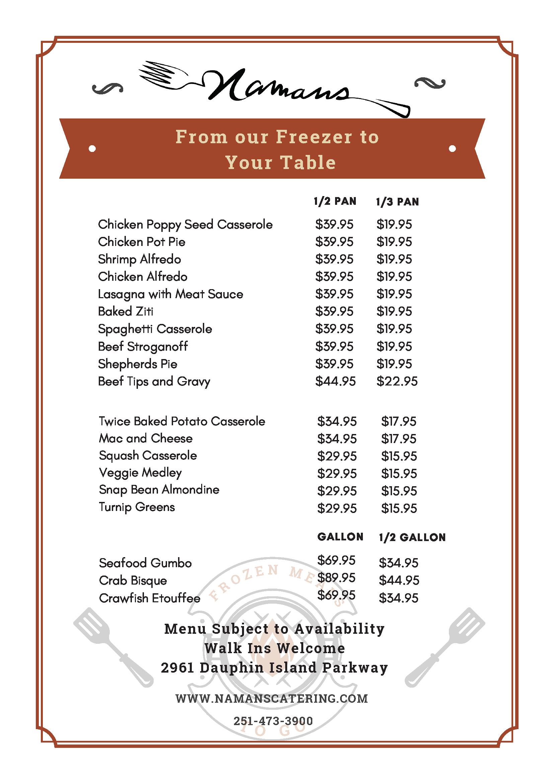 Freezer menu